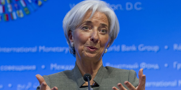 International Monetary Fund (IMF) Managing Director Christine Lagarde gestures while speaking at a news conference during the World Bank/IMF Annual Meetings at IMF headquarters in Washington, Thursday, April 16, 2015. (AP Photo/Jose Luis Magana)