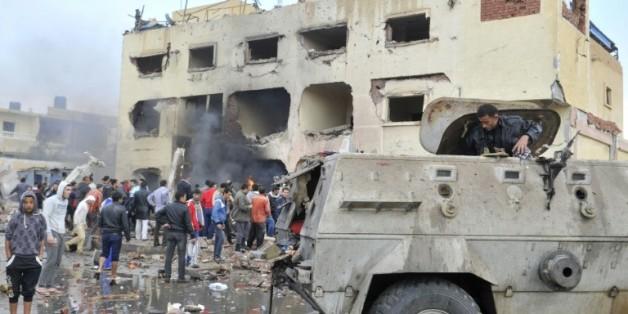 Un bâtiment de la police visé par un attendat le 12 avril 2015 à El-Arish dans le Sinai