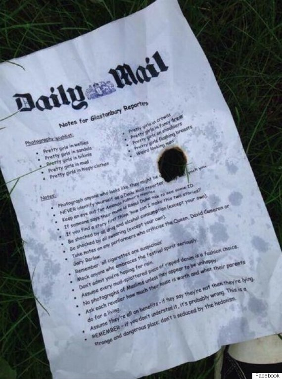 daily mail glastonbury letter information festival