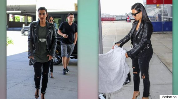 7adce00e8870 This staple part of Kardashian's wardrobe might already be part of yours.  Her distressed skinny black jeans are only slightly ripped by the knee and  can be ...
