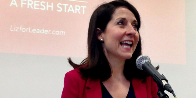 BEST QUALITY AVAILABLE Labour leader contender Liz Kendall speaks at De Montfort University Leicester, where she made a pitch for party votes in the party's leadership contest.