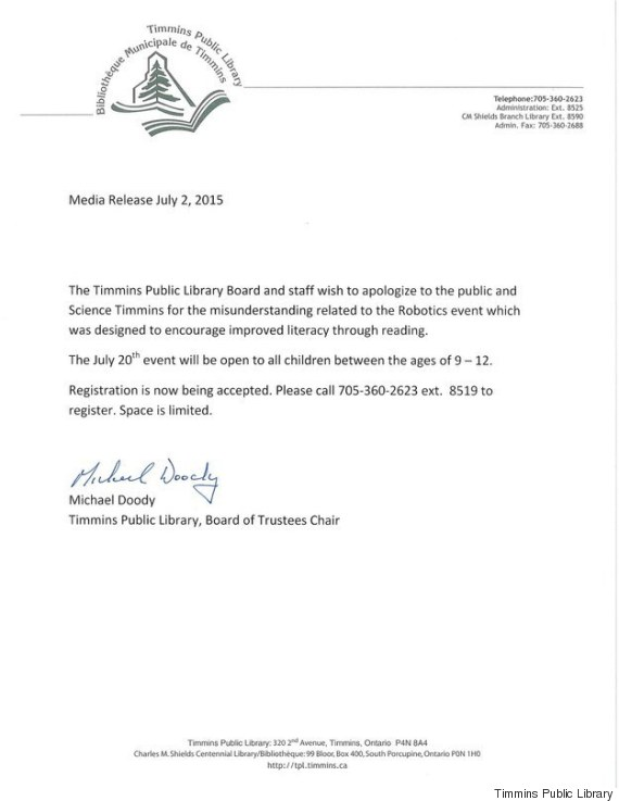 timmins public library apology