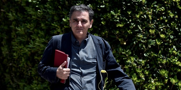 Greek minister of International Economic Relations Euclidis Tsakalotos arrives for a meeting at the Prime minister's office in Athens on June 15, 2015. Athens will patiently wait until its creditors become realistic, Greece's premier said, a day after last-ditch talks between the two sides collapsed and raised fears that Athens would default and exit the eurozone. AFP PHOTO / ARIS MESSINIS        (Photo credit should read ARIS MESSINIS/AFP/Getty Images)
