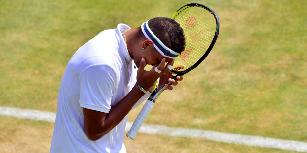 Nick Kyrgios shows his frustration during his match against Milos Raonic during day Five of the Wimbledon Championships at the All England Lawn Tennis and Croquet Club, Wimbledon.
