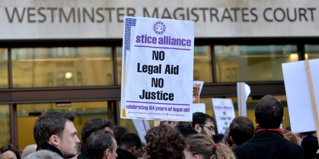 Protests outside Westminster Magistrates Court in London on January 6, 2014.