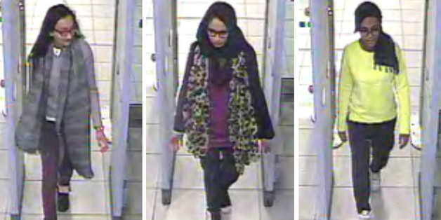 FILE - In this three image combo of stills taken from CCTV issued by the Metropolitan Police in London on  Feb. 23, 2015, Kadiza Sultana, 16, left, Shamima Begum,15, center and 15-year-old Amira Abase going through security at Gatwick airport, before they caught their flight to Turkey.  How rooted in Islam is the ideology embraced by the Islamic State group that has inspired so many to fight and die? The group has assumed the mantle of Islam's earliest years, claiming to recreate the conquests a