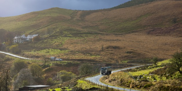 Truck driving through the Brecon Beacons for logging timber production in Wales, UK (Photo by Tim Graham/Getty Images)