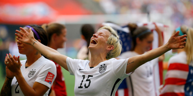 VANCOUVER, BC - JULY 05:  Megan Rapinoe #15 of the United States celebrates the 5-2 victory against Japan in the FIFA Women's World Cup Canada 2015 Final at BC Place Stadium on July 5, 2015 in Vancouver, Canada.  (Photo by Kevin C. Cox/Getty Images)