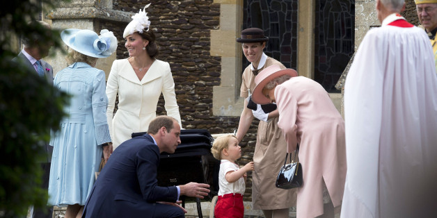KING'S LYNN, ENGLAND - JULY 05:  Queen Elizabeth II speaks to Prince George of Cambridge as Catherine, Duchess of Cambridge, Prince William, Duke of Cambridge and Princess Charlotte of Cambridge leave the Church of St Mary Magdalene on the Sandringham Estate after the Christening of Princess Charlotte of Cambridge on July 5, 2015 in King's Lynn, England.  (Photo by Matt Dunham - WPA Pool/Getty Images)