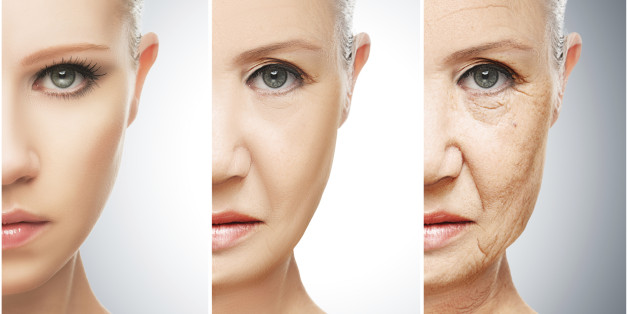 concept of aging and skin care. face of young woman and an old woman with wrinkle