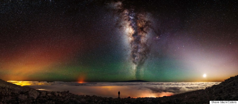 volcano milky way space selfie
