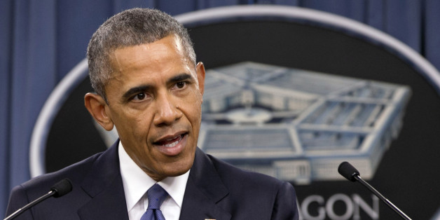 President Barack Obama speaks to the media after receiving an update from military leaders on the campaign against the Islamic State, during a rare visit to the Pentagon on Monday, July 6, 2015. (AP Photo/Jacquelyn Martin)