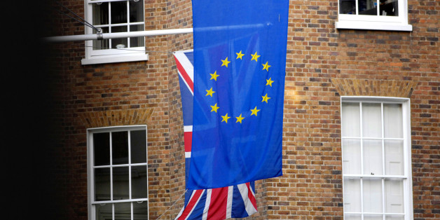 The Union Jack pictured behind the European Union flag in London.