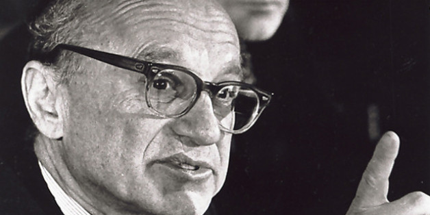 ** FILE ** Milton Friedman, winner of the Nobel Prize in Economics 1976, speaks at a press conference in a Stockholm file photo from Dec. 10, 1976. Friedman, the Nobel Prize-winning economist who advocated an unfettered free market and had the ear of Presidents Nixon, Ford and Reagan, died Thursday. He was 94. (AP Photo/File)