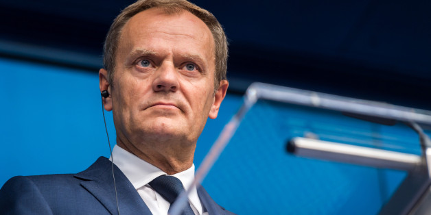 European Council President Donald Tusk speaks during a final media conference after an EU summit in Brussels on Friday, June 26, 2015. EU leaders, in a second day of meetings, discussed migration, the Greek bailout and European defense. (AP Photo/Geert Vanden Wijngaert)