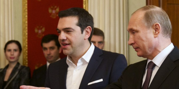 Russian President Vladimir Putin, right, and Greek Prime Minister Alexis Tsipras attend a signing ceremony in the Kremlin in Moscow, Russia, Wednesday, April 8, 2015. Russian President Vladimir Putin said the leader of Greece did not ask for financial aid during an official visit, easing speculation that Athens might use its relations with Moscow to gain advantage in bailout talks with European creditors.  (AP Photo/Alexander Zemlianichenko, pool)
