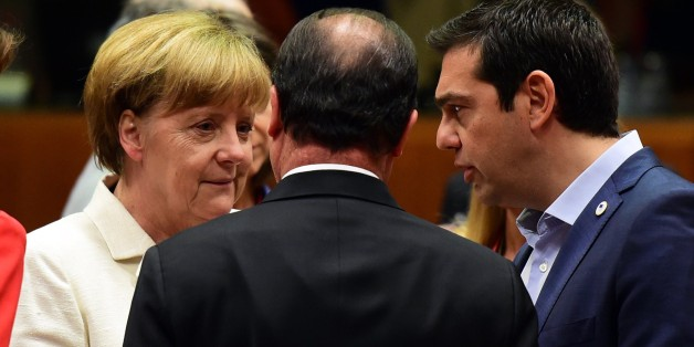 (From L) German Chancellor Angela Merkel, French President Francois Hollande, and Greek Prime Minister Alexis Tsipras confer prior to the start of a summit of Eurozone heads of state in Brussels on July 12, 2015. The EU cancelled a full 28-nation summit to decide whether Greece stays in the European single currency as a divided eurozone struggled to reach a reform-for-bailout deal.  AFP PHOTO / JOHN MACDOUGALL        (Photo credit should read JOHN MACDOUGALL/AFP/Getty Images)