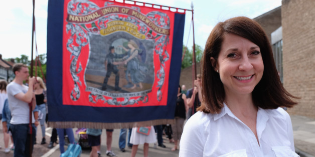 Labour leadership candidate Liz Kendall joins the march with the Fishburn Colliery Banner from Sedgefield during the annual Durham Miners Gala on July 11, 2015 in Durham, England.