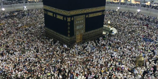 In this Tuesday, Oct. 7, 2014 photo, Muslim pilgrims circle the Kaaba, the black cube at center, inside the Grand Mosque during the annual pilgrimage, known as the hajj, in the Muslim holy city of Mecca, Saudi Arabia. More than 2 million pilgrims took part in the annual hajj pilgrimage this year. (AP Photo/Khalid Mohammed)