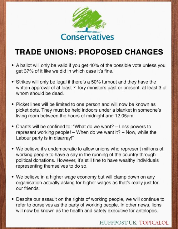 trade unions proposed changes tories conservative