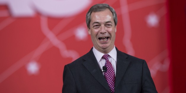 Britain's United Kingdom Independence Party's (UKIP) Nigel Farage speaks at the annual Conservative Political Action Conference (CPAC) at National Harbor, Maryland, outside Washington, DC on February 26, 2015.    AFP PHOTO/NICHOLAS KAMM        (Photo credit should read NICHOLAS KAMM/AFP/Getty Images)