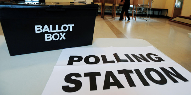 The scene at the polling station at Market Hall in Swadlincote, Derbyshire, as the General Election got underway across the UK.