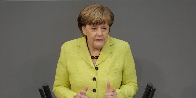 German Chancellor Angela Merkel delivers a declaration about the European Union and an Eastern Partnership with former Soviet Republics at the German parliament Bundestag , in Berlin, Germany, Thursday, May 21, 2015. Merkel will attend a summit of the European Union and former Soviet Republics in Latvia's capital Riga at the afternoon. (AP Photo/Markus Schreiber)