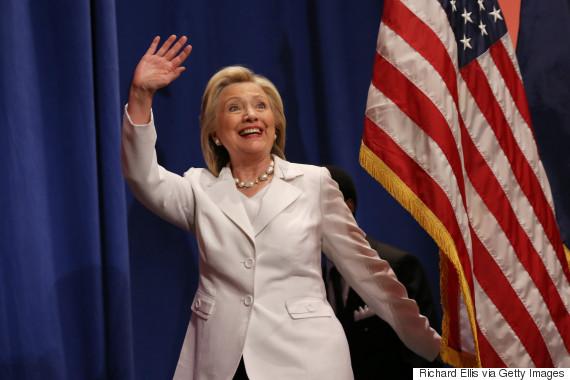 hillary waving