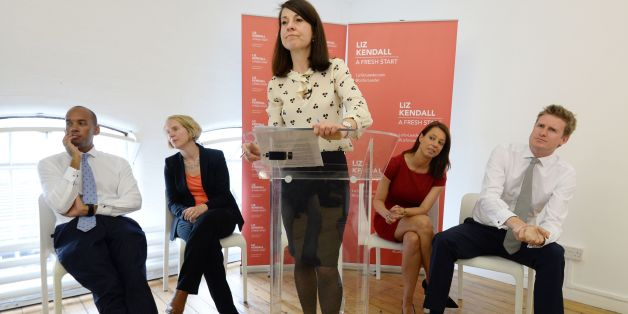 Candidate for Labour leader, Liz Kendall makes a speech in Brixton after visiting Brixton Solar in south London with her leadership backers (seated left to right) Chuka Umunna, Emma Reynolds, Gloria De Piero and Tristram Hunt, where they saw how solar energy is being produced on the Ruopell Park Estate with the cooperation of the residents.