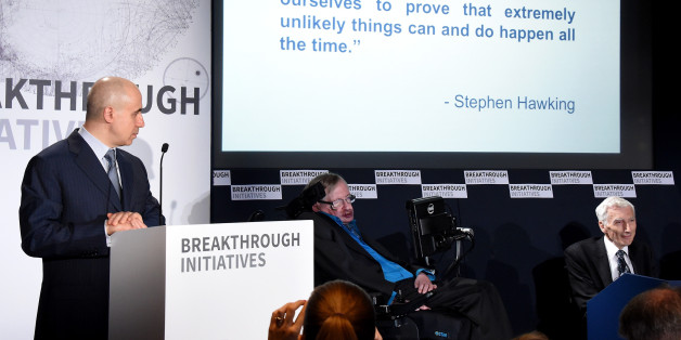 LONDON, ENGLAND - JULY 20:  (L-R) DST Global Founder Yuri Milner, Theoretical Physicist Stephen Hawking and Cosmologist and astrophysicist Lord Martin Rees attend a press conference on the Breakthrough Life in the Universe Initiatives, hosted by Yuri Milner and Stephen Hawking, at The Royal Society on July 20, 2015 in London, England.  (Photo by Stuart C. Wilson/Getty Images for Breakthrough Initiatives)