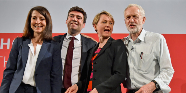 GLASGOW, SCOTLAND - JULY 10:  Labours candidates for Leader and Deputy Leader Liz Kendall,Andy Burnham, Yvette Cooper  and Jeremy Corbyn take part in a hustings in The Old Fruitmarket, Candleriggs on July 10, 2015 in Glasgow, Scotland. The four candidates for the Labour leadership Andy Burnham, Liz Kendall, Jeremy Corbyn and Yvette Cooper faced questions on a range of issues including immigration, welfare and the economy.  (Photo by Jeff J Mitchell/Getty Images)