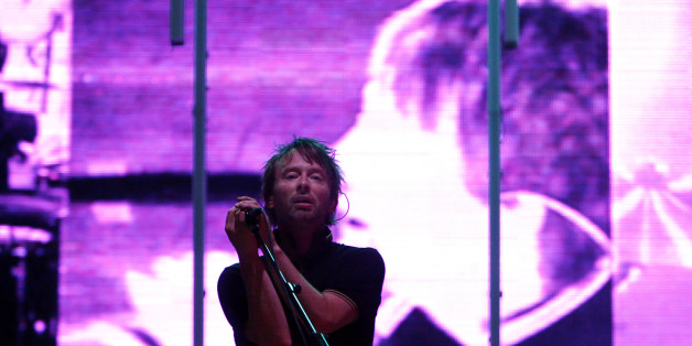 Thom Yorke and Radiohead perform  during the All Points West music festival at Liberty State Park Saturday, Aug. 9, 2008 in Jersey City, N.J.  (AP Photo/Jason DeCrow)