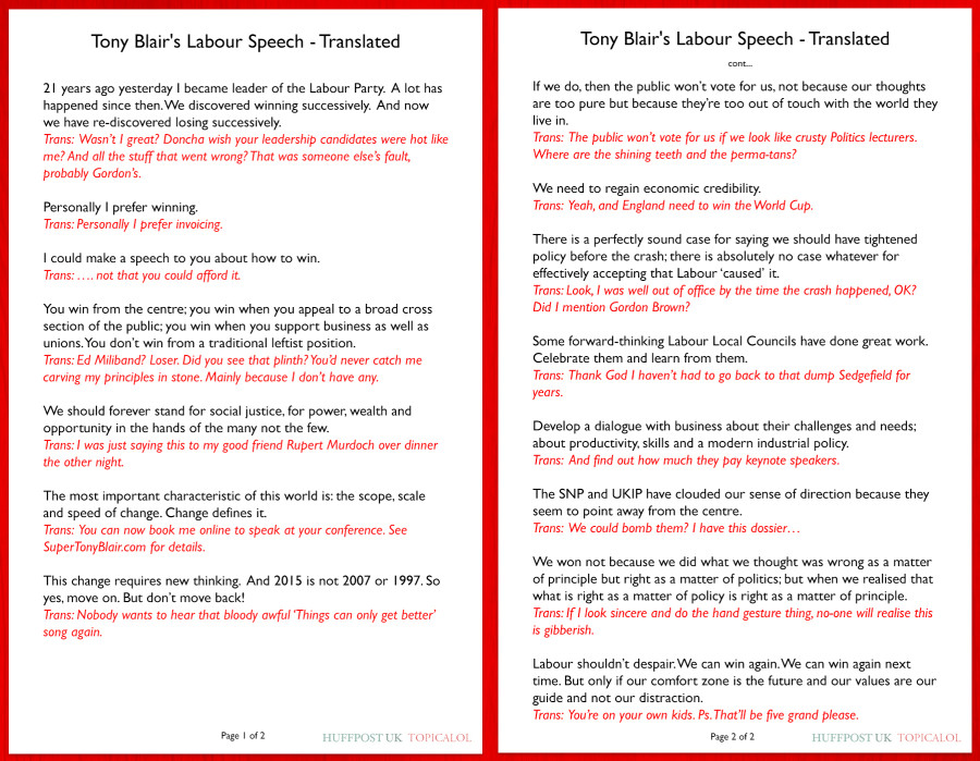 tony blair speech what he really meant