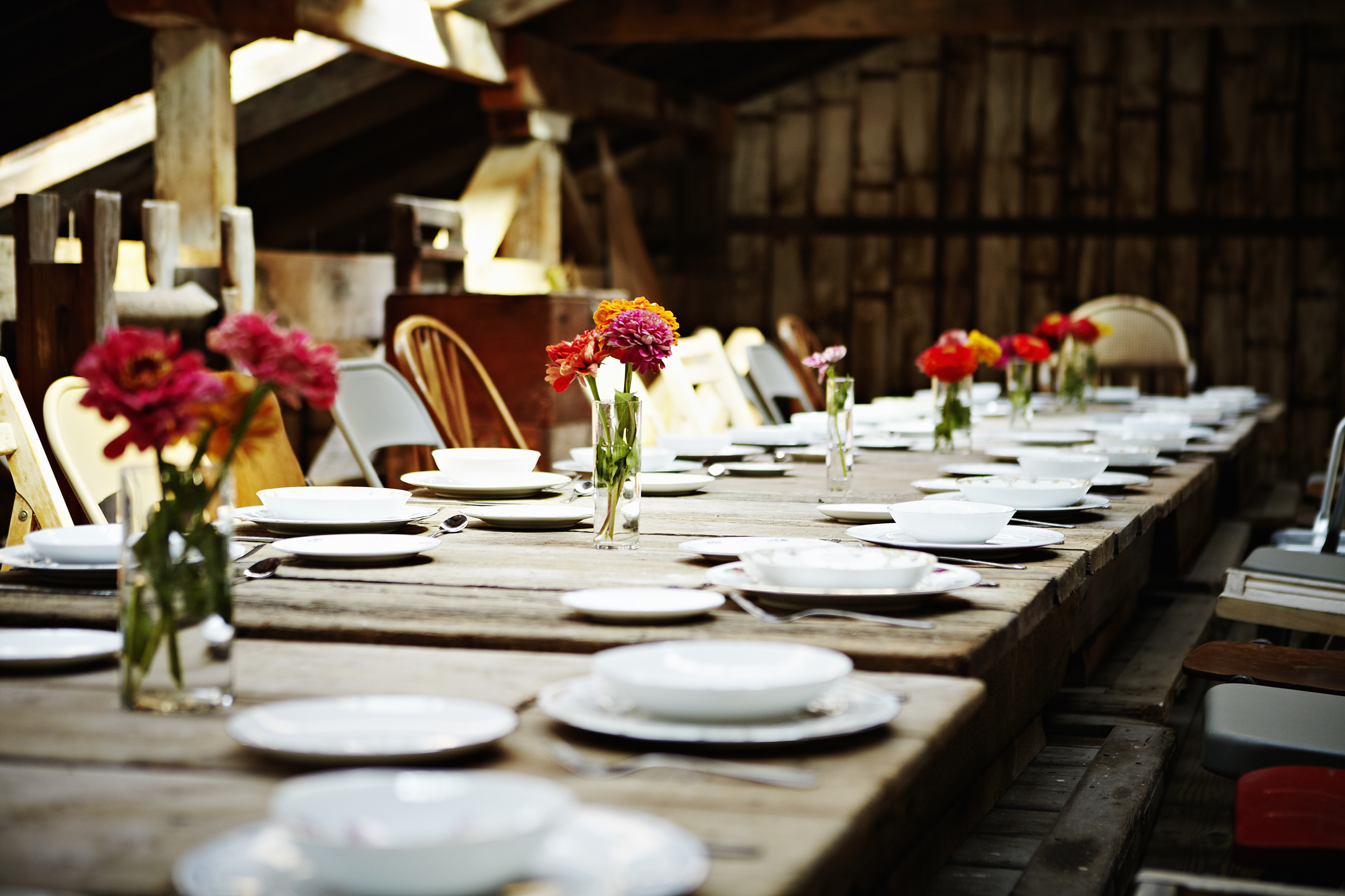 rustic dinner table