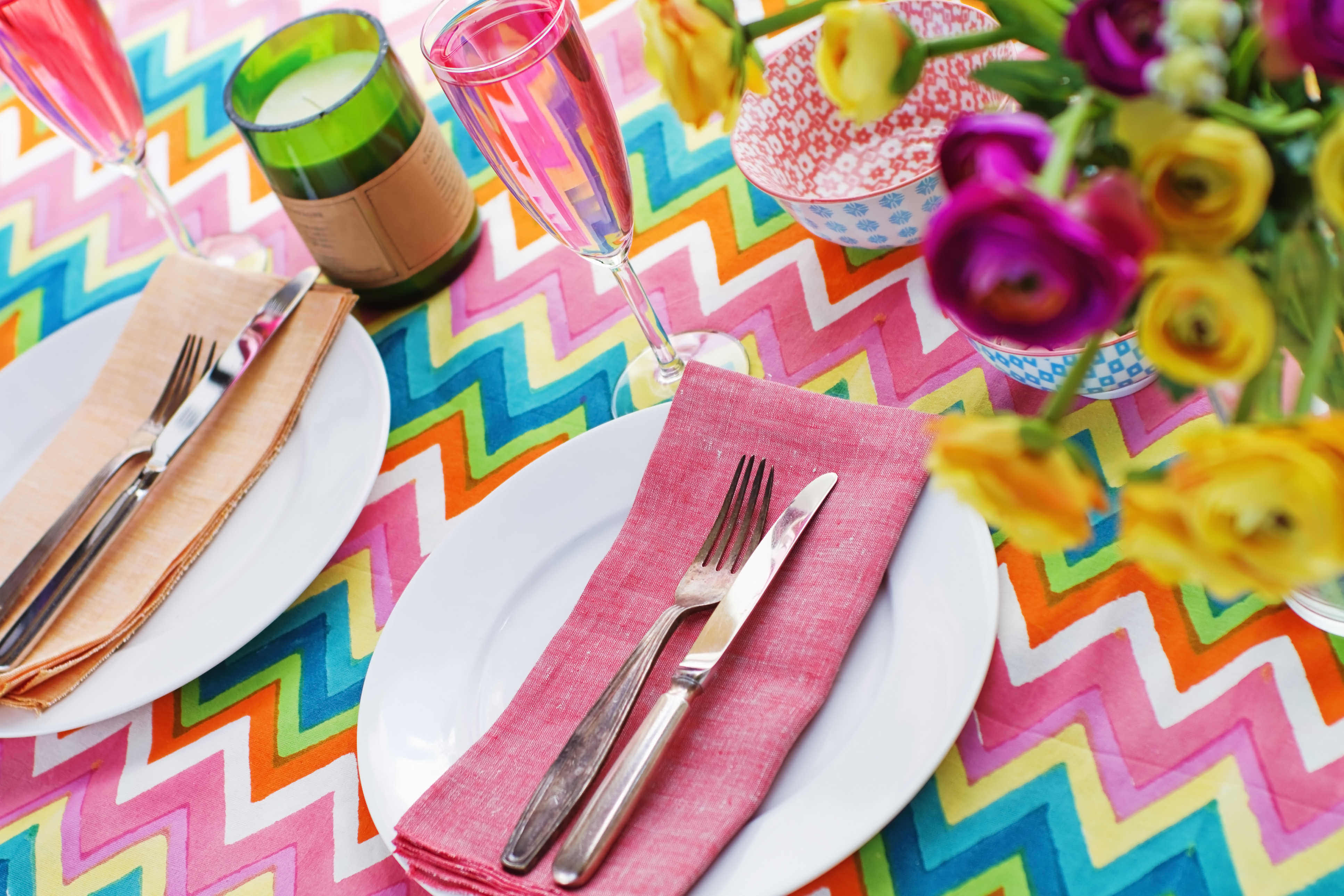 colourful dinner table