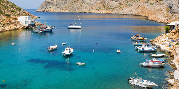 SIFNOS, GREECE - JUNE 18: Boats anchored in the port of Cheronissos during  midday on June 18, 2015 in Sifnos, Greece. Sifnos is a island in the western Aegean Sea, the surface area is about 74 square kilometres, and a member of the Cyclades group of islands. (Photo by Christian Marquardt/Getty Images)