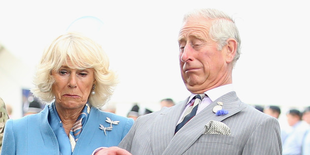 KING'S LYNN, ENGLAND - JULY 29:  Prince Charles, Prince of Wales and Camilla, Duchess of Cornwall react as Zephyr (a bald eagle), the mascot of the Army Air Corps flaps his wings at Sandringham Flower Show on July 29, 2015 in King's Lynn, England.  (Photo by Chris Jackson/Getty Images)