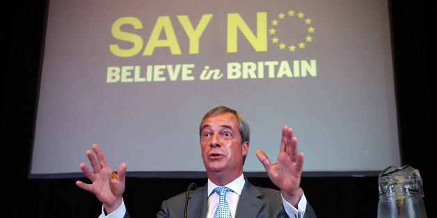 UKIP leader Nigel Farage speaks during a conference in which he discussed how the 'No' campaign can win the Euro exit referendum, on July 30, 2015 in London, England. Mr Farage addressed supporters as called for a step up in the 'No' campaign in the referendum on whether the UK should remain a member of the European Union.  (Photo by Carl Court/Getty Images)