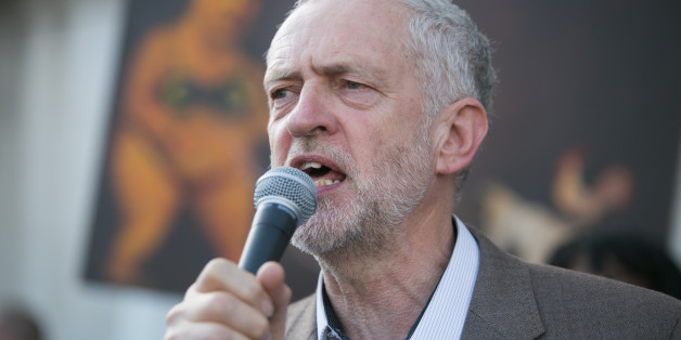 Jeremy Corbyn MP speaks during a protest against the European Central Bank, in Trafalgar Square, London, over Greece's debt repayments.