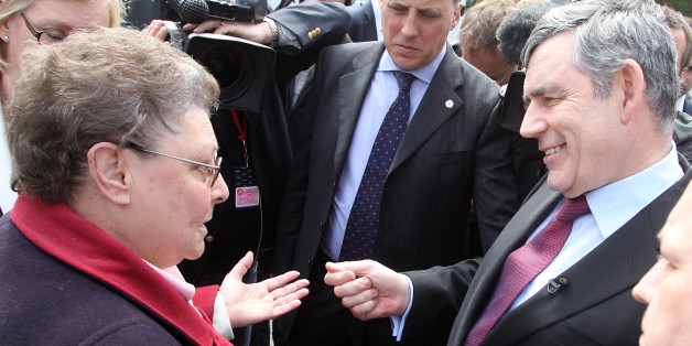 "File photo dated 28/04/10 of Prime Minister Gordon Brown speaking to local resident Gillian Duffy in Rochdale, he was later caught describing her as ""bigoted""."