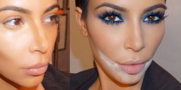 Kim Kardashian in vier unterschiedlichen Schminkstufen