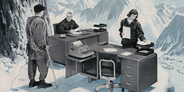 Mountain climber discovering a business office on an icy ledge high in the mountains, 1955. Screen print. (Illustration by GraphicaArtis/Getty Images)