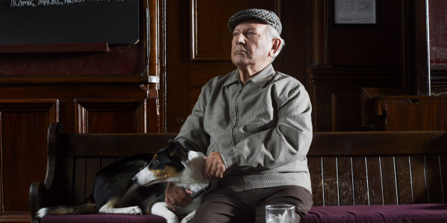 Man With Dog in Pub
