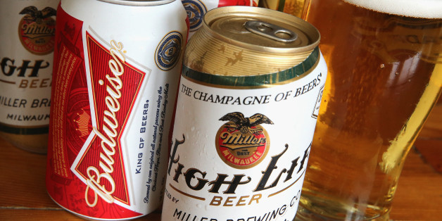 CHICAGO, IL - SEPTEMBER 15:  In this photo illustration, cans of Miller High Life and Budweiser beer that are products of SABMiller and Anheuser-Busch InBev (respectively) are shown on September 15, 2014 in Chicago. Illinois. Shares of SABMiller have surged to an all-time high today on speculation of a takeover bid by Anheuser-Busch InBev, the world's largest brewer.  (Photo Illustration by Scott Olson/Getty Images)