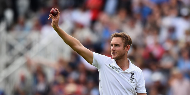 NOTTINGHAM, ENGLAND - AUGUST 06:  Stuart Broad of England celebrates taking his fifth wicket that of Michael Clarke of Australia during day one of the 4th Investec Ashes Test match between England and Australia at Trent Bridge on August 6, 2015 in Nottingham, United Kingdom.  (Photo by Laurence Griffiths/Getty Images)