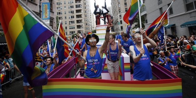IMAGE DISTRIBUTED FOR HILTON - Hilton Team Members celebrate Pride Month at NYC Pride as a Gold Sponsor, Sunday, June 28, 2015 in New York. The day's activities underscore Hilton's ongoing commitment to the LGBT community, advocating for inclusion and equality through its policies, practices and sponsorships. (Jason DeCrow/AP Images for Hilton)