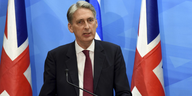 British Foreign Secretary Philip Hammond holds a joint press conference with Israeli Prime Minister Benjamin Netanyahu in the prime minister's office in Jerusalem on Thursday, July 16, 2015. Netanyahu and Hammond sparred publicly Thursday over the international nuclear deal with Iran, veering off prepared comments to exchange sharply different positions toward the agreement. (Debbie Hill, Pool Photo via AP)