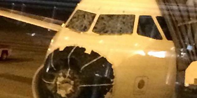 Trotz Hagelschäden konnte dieser Delta-Flug sicher landen