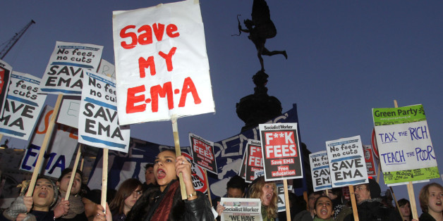 Protesters gather in Piccadilly Circus, London, in a protest against controversial plans to scrap the Education Maintenance Allowance (EMA).