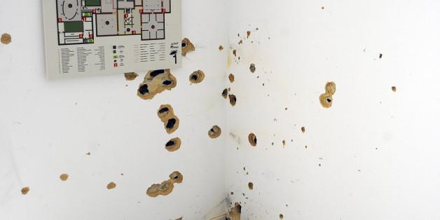 Un mur du musée du Bardo criblé de balles